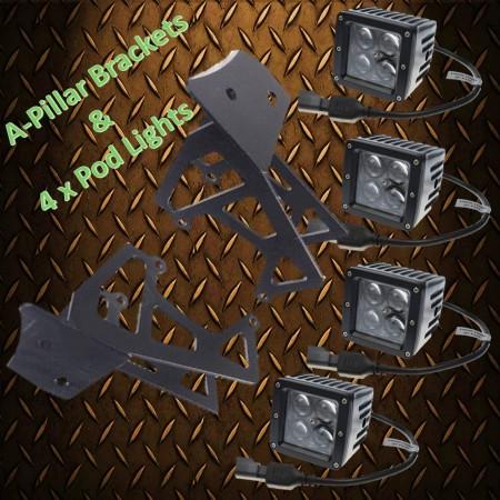 JK Wrangler A-Pillar & 80 watt Pod light Package Kit