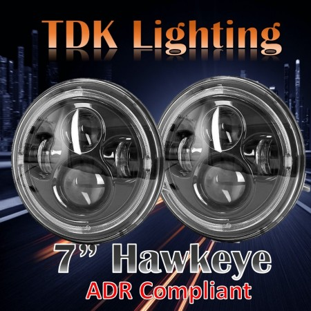 7 inch HAWKEYE Headlight- suits Jeep JK,TJ, GQ Patrol, Landrover Defender, Toyota Landcruiser, Mercedes G Wagon