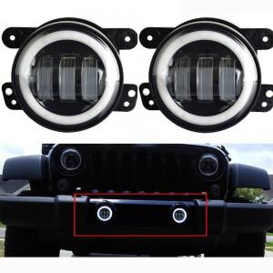 "Jeep Wrangler JK  4"" LED Halo Fog Light - BLACK"