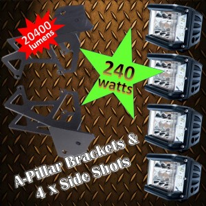 JK Wrangler A-Pillar & 240 watt Pod light Package Kit