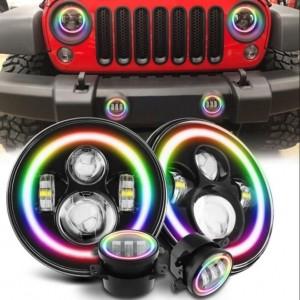 "7"" Headlight + 4"" Fog light Colour Changing RGB Osram Headlights"