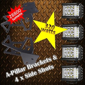 JK Wrangler A-Pillar & 320 watt Pod light Package Kit