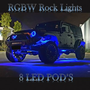 RGBW Rock Lights 8 Pods suits all Vehicles
